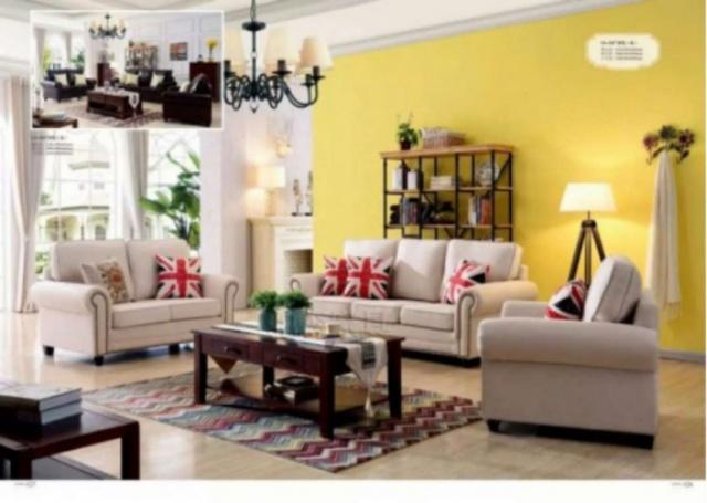 一套三件頭客廳布藝沙發組合  MOP5800